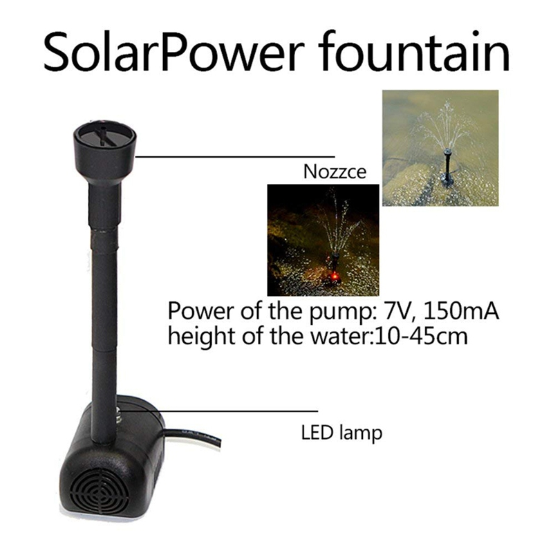 LED Colorful Solar Power Water Pump Light Landscaping Fountain Clean Water Pump Lake Park DC Brushless Battery Pump