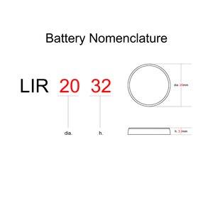 Кнопка сотового литий-ионная аккумуляторная батарея LIR2032 3,6 В 5 шт-2032 Замена CR2032 Монета