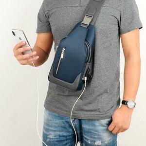 Image 3 - 男性のメッセンジャーバッグショルダーオックスフォード布胸バッグクロスボディカジュアルメッセンジャーバッグ男usb充電多機能ハンドバッグ