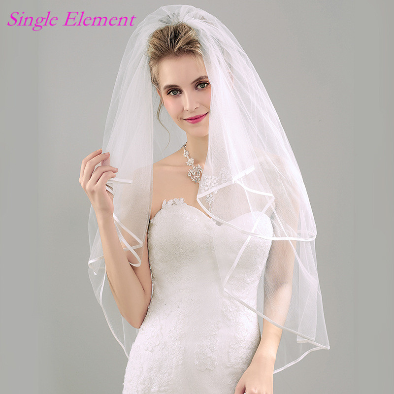 Newest Bridal Veils with Comb Two Layers Ribbon Edge Wedding Exquisite Ivory Veil 2017 Accessory
