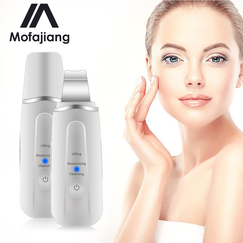 Rechargeable Ultrasonic Face Skin Scrubber Facial Cleaner Peeling Vibration Blackhead Removal Exfoliating Pore Cleaner Tools J3