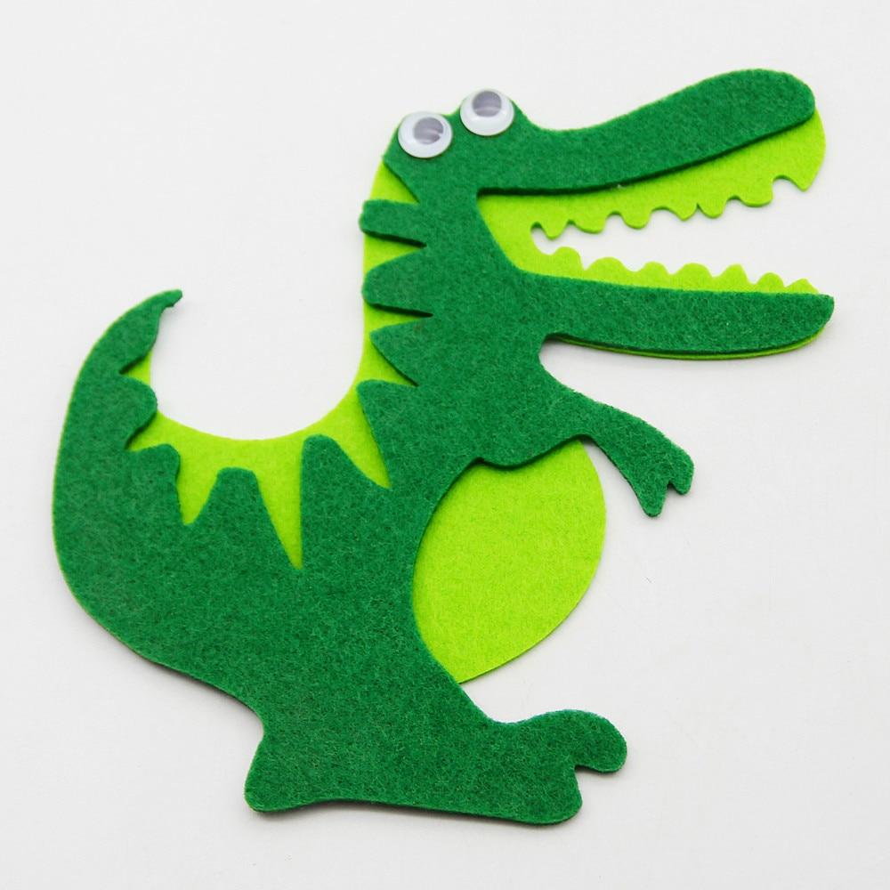 Free Cutting Felt Cartoon Cute Animals Crocodile Shape Decor Felt Handmade DIY Cloth Making Fabric Materials Puzzle Study Tools