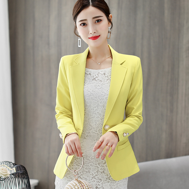 Female Tops Autumn Winter Suits Women 2018 Plus Size Blazers Office Work Slim Pink Green Black Suits Casual Long Sleeve Blazer