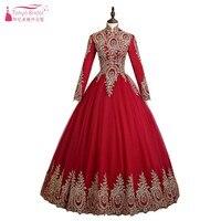 Red Muslim Long sleeve Wonderful Wedding Ball Gowns Hijab Saudi Arabia Bridal Dress Gold Appliques Real photos ZD007