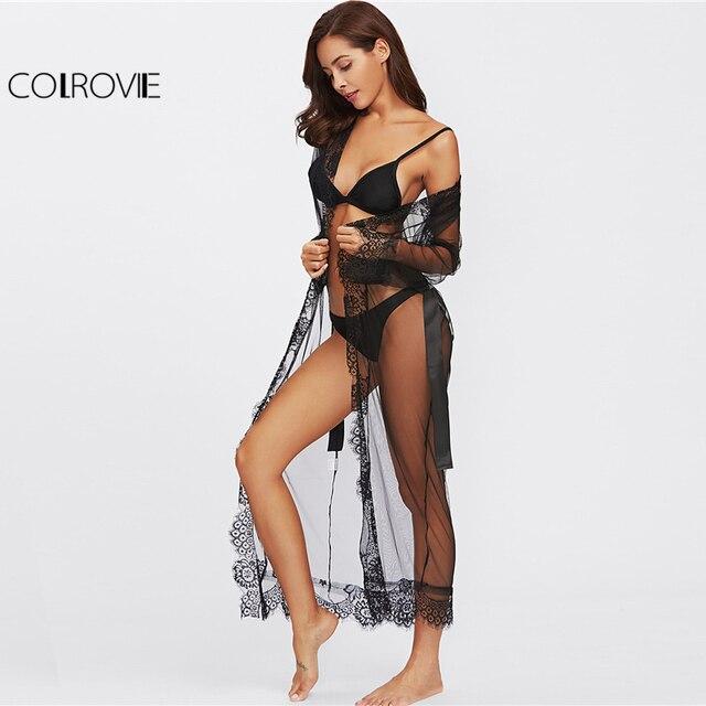 COLROVIE Eyelash Lace Trim Plus Size Mesh Robe With Belt Black Long Sleeve Ankle-length Kimono Blouse Women Sexy Sleepwear 2