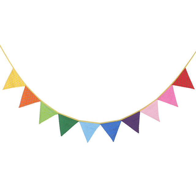 10pcs fabric party bunting colorful flags banner for party birthday