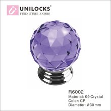 10Pcs/Dozen K9 Crystal Glass Chrome Cabinet Cupboard Door Knobs (Diameter:30mm,Color: Purple)