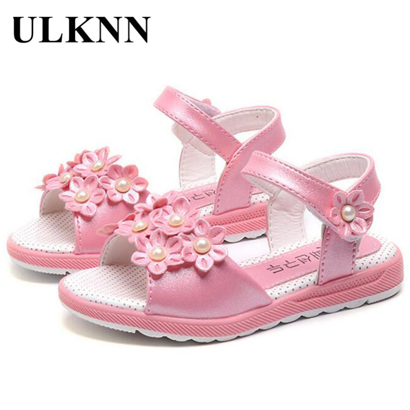 ULKNN Sandals For Girls New Style Fashion Baby Shoes Girl Sandals Princess Girls Sandals Flower Girl Summer Nubuck Dancing shoes flower baby summer baby shoes for girls soft sole cute princess elegant fashion cotton high quality baby shoes for girls 60a1071