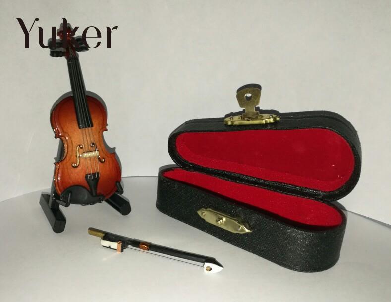 Yuker 1/12 maison de poupée Miniature violon en bois avec support en - Instruments de musique - Photo 5