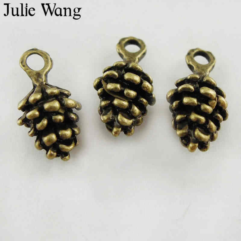 Julie Wang 10-50PCS Pine Cone Charms Small Antique Bronze Echinacea Alloy Bracelet Pendants Finding Jewelry Making Accessory