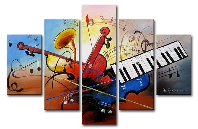 hand-painted artwork The Music violin home decoration Landscape Oil paintings for living room wall 5pcs/set  Framed