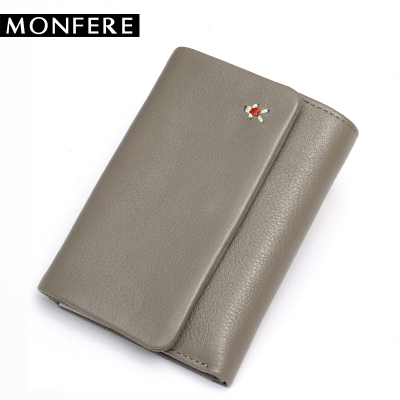 MONFERE Genuine Leather Hasp Fold Women Wallet Photo Coin Card Cash Invoice Fashion Lady Small Purse Short Solid Female Clutch short hasp cowhide genuine leather women coin bag wallet stitching designer cartera purse female card wallet