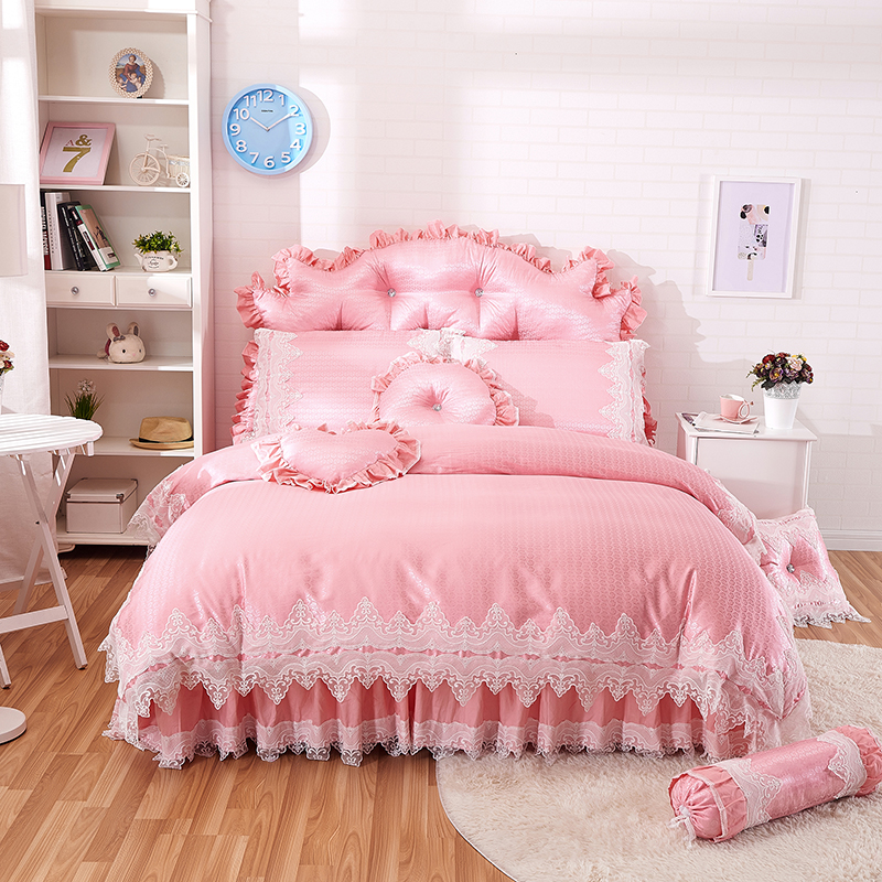 pink princess style lace bedding sets cotton jacquard queen king size girls bedskirt pillowcase. Black Bedroom Furniture Sets. Home Design Ideas