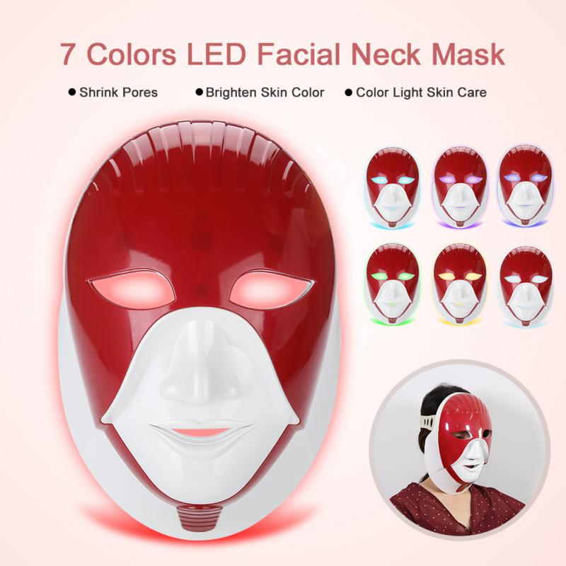 7 สี LED หน้ากากคอ Anti   Wrinkle Beauty อุปกรณ์ LED Photon หน้ากากริ้วรอยกำจัดสิวผิว Rejuvenation Beauty หน้ากาก-ใน เครื่องมือดูแลผิวหน้า จาก ความงามและสุขภาพ บน   1