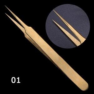 Image 3 - STZ 3 pièces droit + courbé pince à épiler ensemble pince pour cils cils Extension bigoudi stratification doré maquillage ongles accessoire G01 03