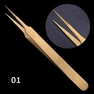 Image 3 - STZ 3pcs Straight+Curved Tweezers Set Clip For Eyelashes Lash Extension Curler Lamination Golden Make up Nail Accessory G01 03