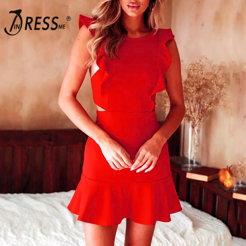 INDRESSME 2019 New Women Sexy Solid Sleeveless Bandage Dress Ruffles Butterfly Sleeve O Neck Mini Dress