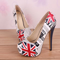 New Brand Graffiti Style Shoes Women High Heel Sexy Women Pumps 14cm Trendy Shoes Woman Thin Heel Big Size 34-45