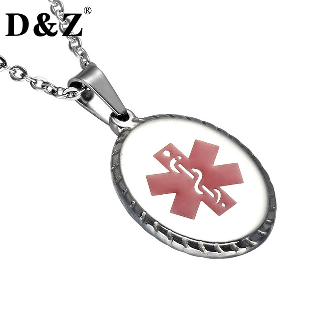 Dz silver color red snake necklace stainless steel medical alert dz silver color red snake necklace stainless steel medical alert pendant necklace for women jewelry aloadofball Images