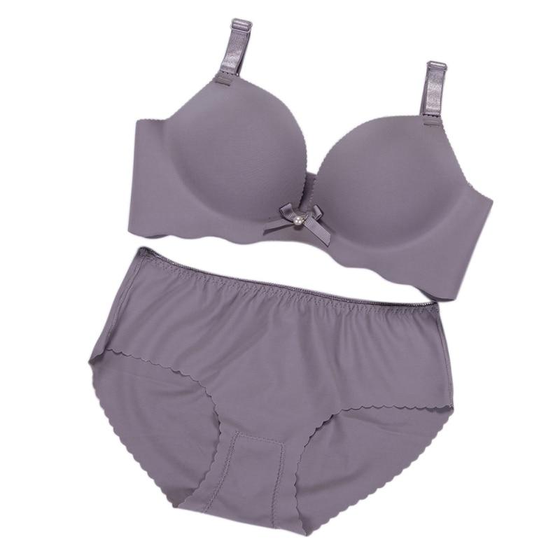 Solid Bow Bra Set Push Up Underwear Lingerie Cotton Comfortable Convertible Straps Bra Set Women/Girls Matching Bra + Panty Set