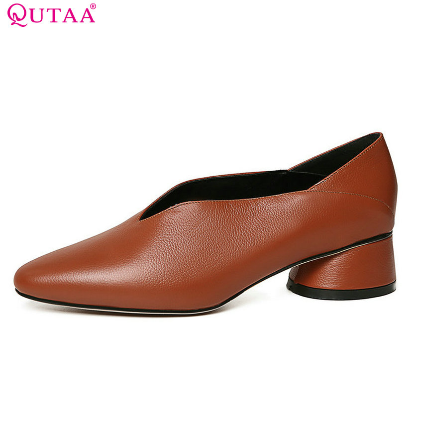 QUTAA 2018 Women Pumps Genuine Leather + Pu Fashion Square Heel Pointed Toe Platform Casual Solid Women Pumps Szie 34-39 qutaa 2018 fashion women pumps lace up solid square toe spring and autumn shoes square heel casual women pumps szie 33 43