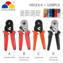 цены HSC8 crimping pliers 0.25-10mm2 HSC8 6-4/6-6 0.25-6mm2 tube type needle terminal box set mini pressure wire ferrule tools
