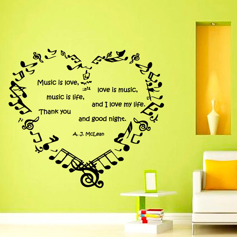 Music Is Love Love Is Music Wall Stickers Music Notes Heart DIY Home ...