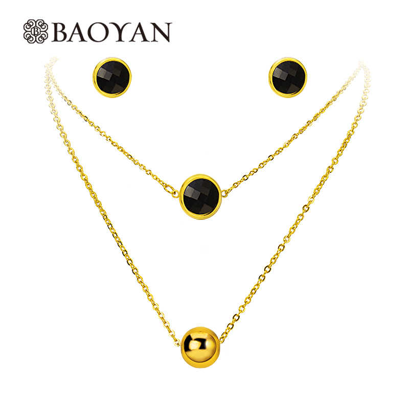 BAOYAN Ladies Women Jewelry Gold Plating Stainless Steel Necklace Earrings Sets Black White Pearl Wedding Jewelry Sets For Women