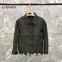 Natural Leather Jacket Dark Green Vintage Short Jacket Coat for Women Lambskin Coats Genuine Leather Jacket 2019