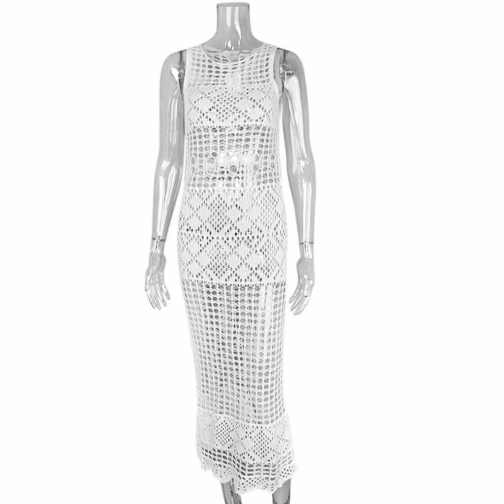 Mujer de encaje Sexy vestido de verano, traje de baño de Crochet Bikini traje de baño trajes de baño playa cubierta vestido hueco una pieza Tops M20