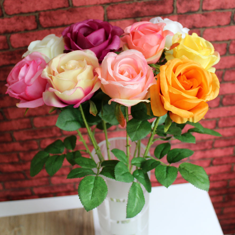 Diy artificial latex rose flowers for wedding real touch for Rose home decorations