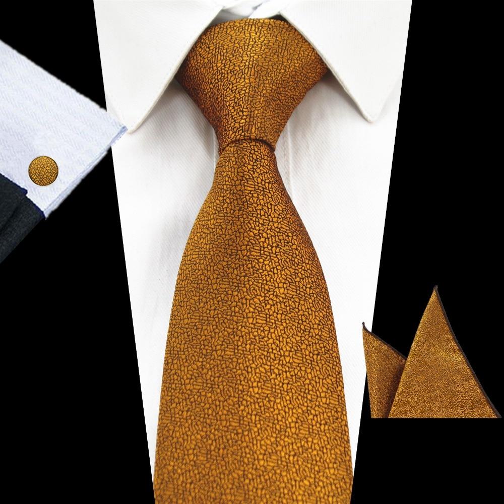 RBOCOTT New Fashion Plain Tie Men's 8cm Silk Necktie Set Blue Green Purple Yellow Gray Red Wedding Solid Tie Hanky Cufflinks Set