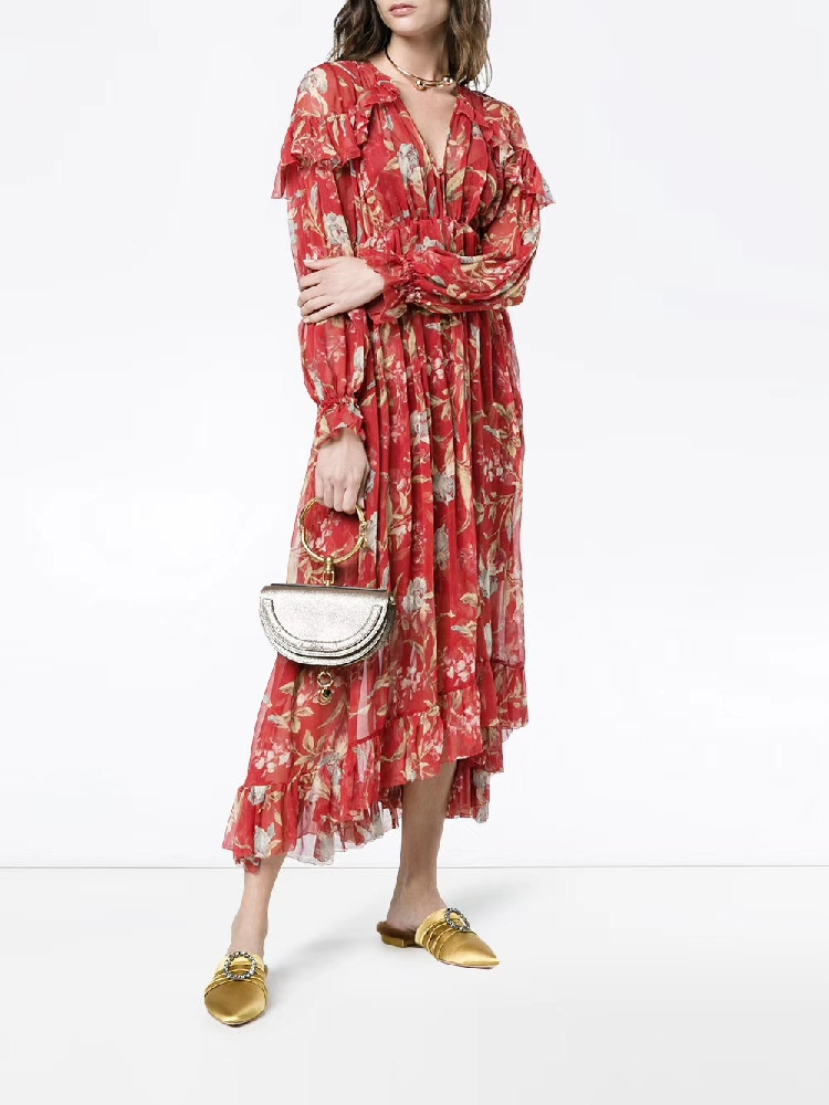 100% Silk Woman Dress 18 Spring Summer Red Floral Print Ruffle Long Sleeve Deep V Neck Sexy Slim Midi Dresses For Party 5