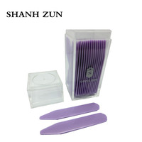 SHANH ZUN 30 Purple Plastic Dress Shirt Collar Stays Stiffeners Inserts Point Collar In Clear Plastic