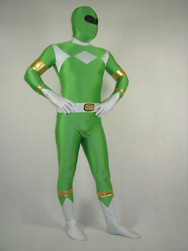 Free Shipping Green Ranger Costume Spandex Lycra Full Body Suit Kyoryu Sentai Zyuranger Halloween Cosplay Bodysuit