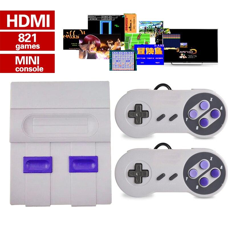 Mini HD HDMI TV Console de jeu vidéo portable rétro famille Console de jeu intégré 821 classique pour les jeux SNES double manette PAL & NTSC - 3