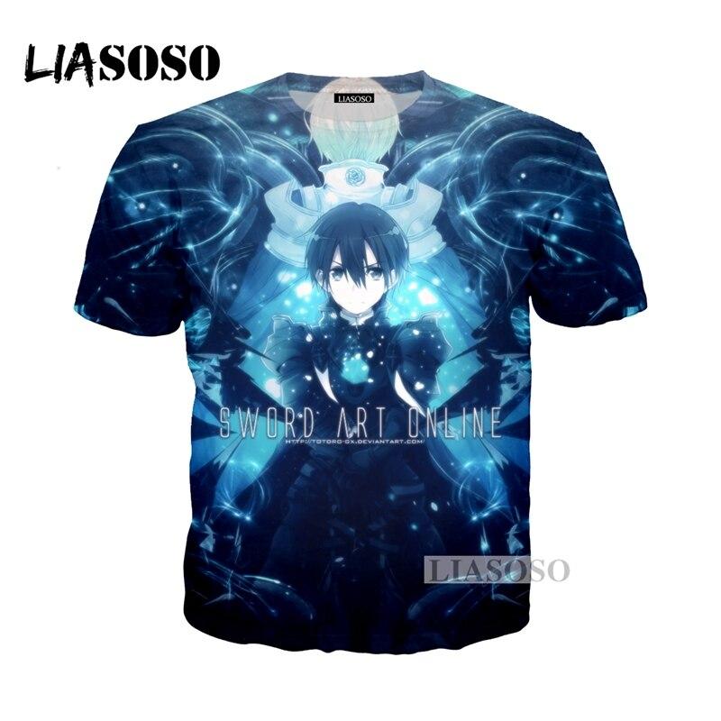 LIASOSO NEW Anime Sword Art Online Tees 3D Print T-shirt/Hoodie/Sweatshirt Unisex Cosplay Sexy katana kirito T Shirt Tops G341