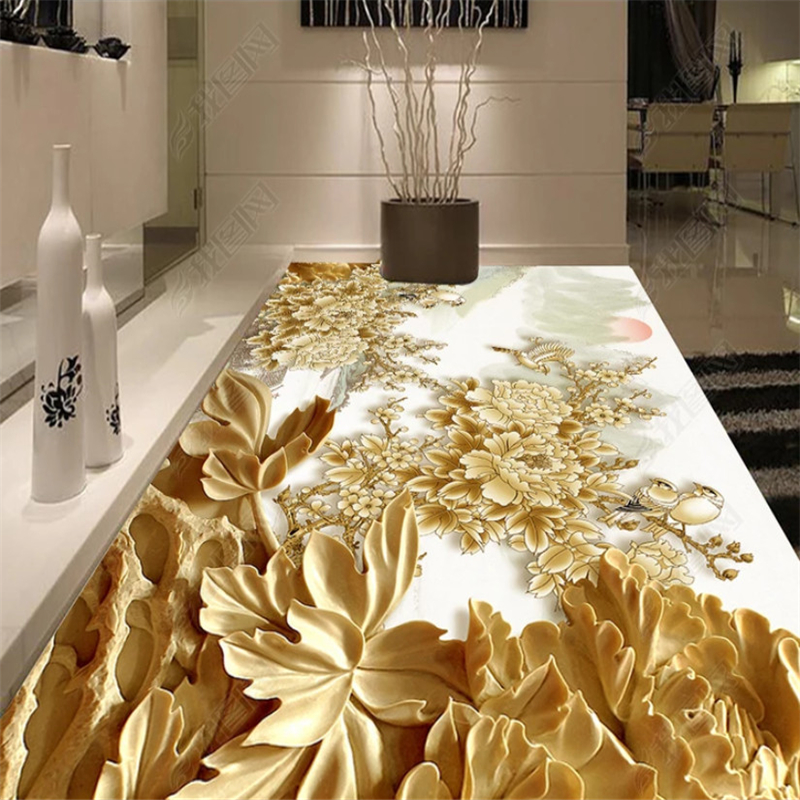 где купить beibehang wall papers home decor 3D abstract three-dimensional woodpapel mural carving floral floor tiles design mural wallpaper по лучшей цене