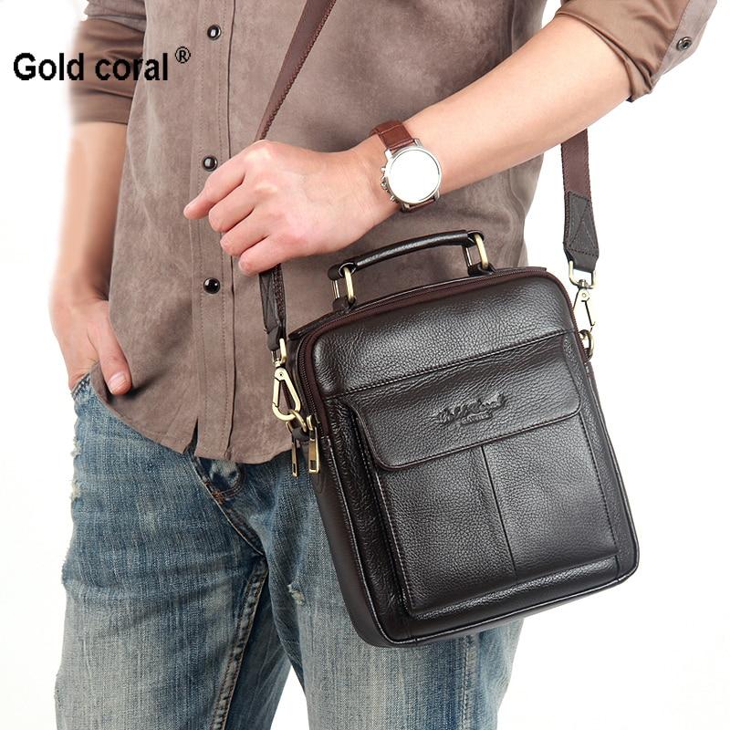 fa0d9b1cecabf حقائب جلدية حقيقية للرجال جلد البقر Crossbody حقيبة صغيرة رسول أكياس  الأزياء الأعمال الكتف أكياس الذكور اليد 2018