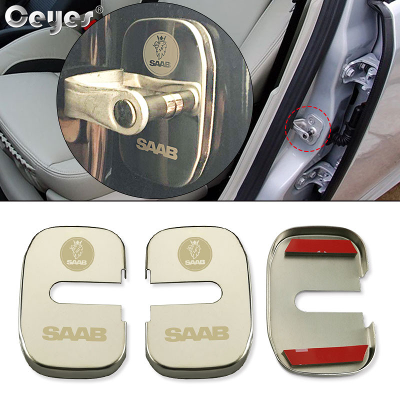 Ceyes Door Lock Covers Accessories Car Styling Case For Saab 9000 900 428 03-10 9-3 9-5 93 95 2003 2012 Auto Protection Stickers