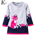 Girls Dress Autumn & Winter 2017 New Long-sleeve Kids Fox Clothing Loose Thick Fox Sweater Dresses For Girl Children 2-6 Years