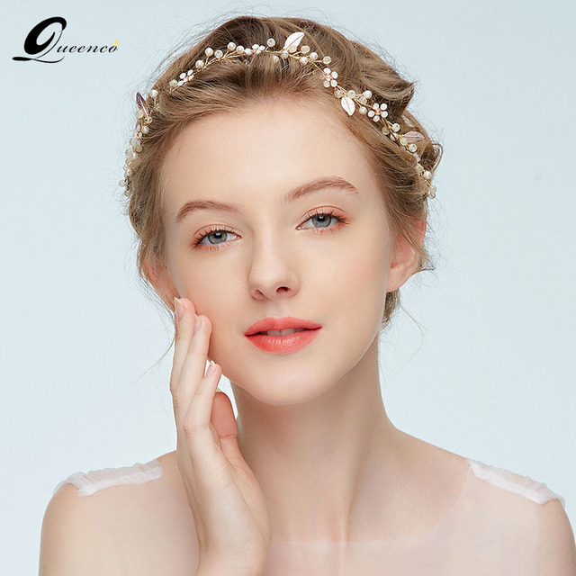 17b27ab2ff1 Fashion Girl s Opal Headbands Gold Wedding Bridal Hair Accessories Women  Hair Vine Pearl bridesmaid Hair Jewelry Headpiece