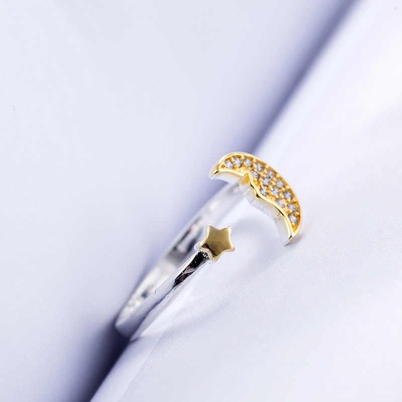 2019 Новое поступление 925 Щепка Звезда Луна кольца для женщин gold камни прекрасный серебряный перстень оптовая продажа ювелирных изделий женщина