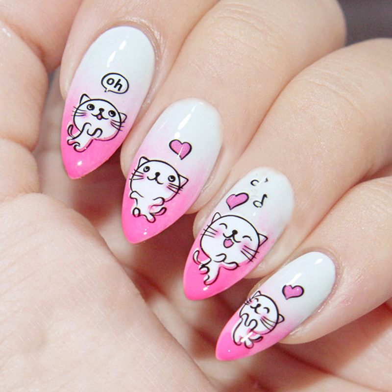 Funny White Cat Nail Water Decals Printed Cartoon Nail Art Sticker Transfer Stickers #8681 diy japanese cartoon car stickers animation drift sticker printing carving protection film car funny camouflage graffiti decals