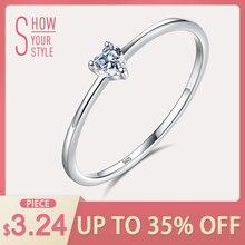 1a7777bba228 ELESHE auténtica Plata de Ley 925 anillo de dedo de plata de cristal de  corazón Simple los anillos de boda para las mujeres comp.