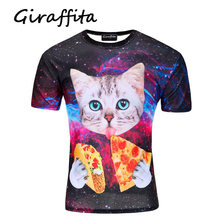 Men's O-Neck Cat Head Print With Pizza In Hand Casual T Shirt Little Animal's Lovers Tee(China)