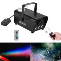 AUCD Mini Portable 500W Remote Fog Machine & 3W RGB LED Background Lights Mix Effect Smoke Fogger DJ Show Stage Equipment SM LE