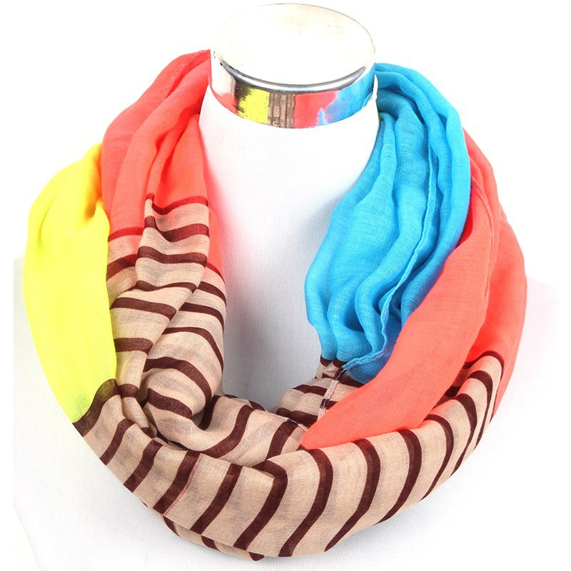 Beach Striped Loop Scarf | Infinity Scarves | Up to 60% Off Now