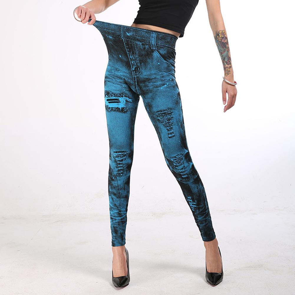 Women Fashion Stretchy Imitation JeansDenim Leggings High Waist Skinny Pants
