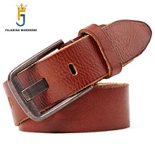FAJARINA Unique Design Wide Pin Buckle Metal Belt Casual Jeans Quality First Head Layer Cow Skin Leather Belt for Men N17FJ320 fashionable men s head layer cowhide cow split leather waist belt brown